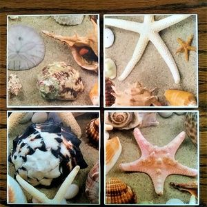 NEW Seashell Ceramic Tile Coasters - Set of 4